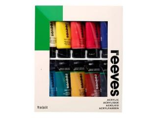 REEVES ACRYLIC COLOURS 10X75ML SET